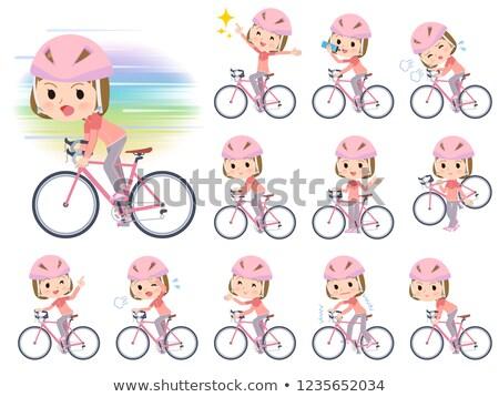 Straight bangs women Sportswear_road bike Stock photo © toyotoyo