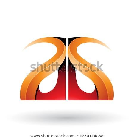 Piros narancs fényes g betű vektor izolált Stock fotó © cidepix