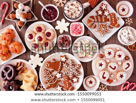 Traditional Linzer Christmas cookies on a plate Stock photo © madeleine_steinbach