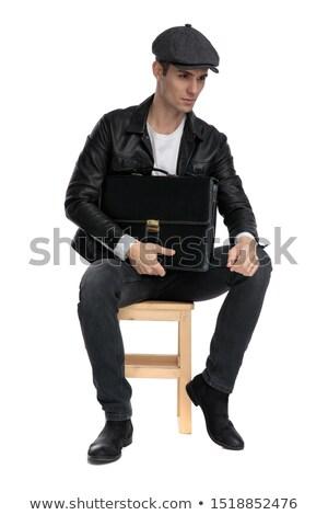 ülő divat férfi gondolkodik tart fekete Stock fotó © feedough