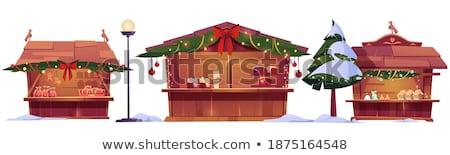 Noel adil dekore edilmiş ev vektör yalıtılmış Stok fotoğraf © robuart