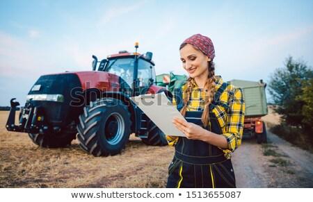 Landbouwer nummers veld lang oogst dag Stockfoto © Kzenon
