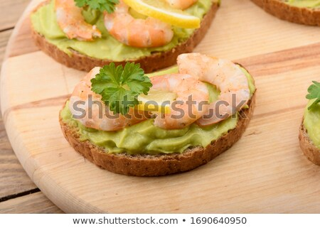 sandwiches with avocado and shrimps stock photo © alex9500