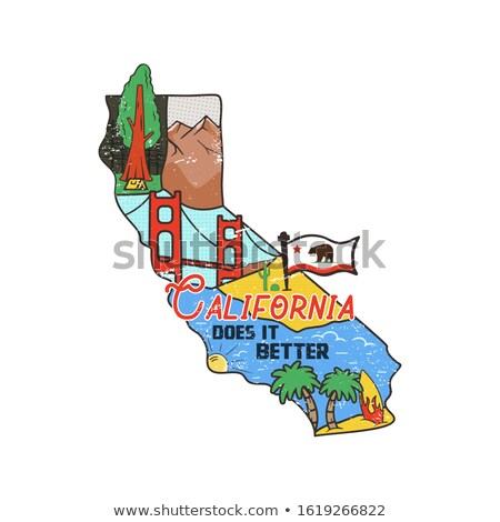 Vintage California map badge with tourist attractions. Retro style US state patch concept, print for Stock photo © JeksonGraphics