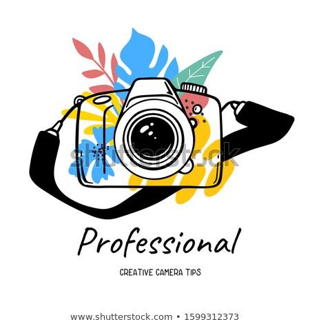 Foto fotocamera digitale gadget in bianco e nero vettore Foto d'archivio © pikepicture