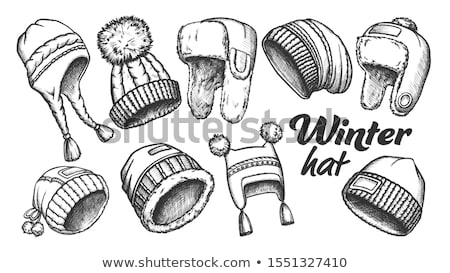 Winter Cap With Fluffy Pompons Monochrome Vector Stock photo © pikepicture