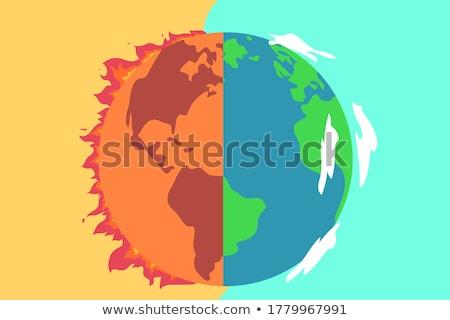 Globalne ocieplenie ziemi ognia ilustracja świecie krajobraz Zdjęcia stock © bluering