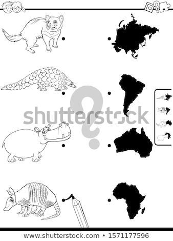 Gyufa állatok kontinensek oktatási játék rajz Stock fotó © izakowski