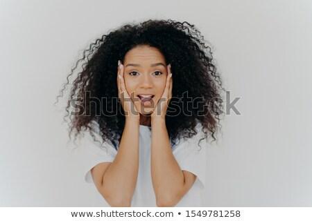 Foto verwonderd vrolijk vrouw afro kapsel Stockfoto © vkstudio