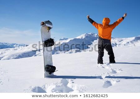 Exitoso hombre puno pie montanas nieve Foto stock © AndreyPopov