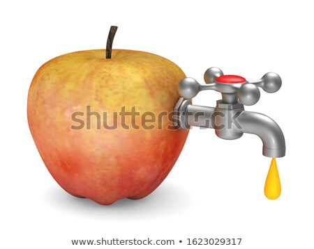 apple and faucet on white background. Isolated 3d illustration Stock photo © ISerg