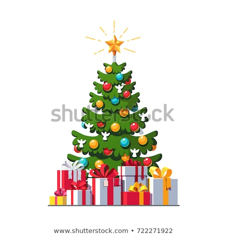Christmas tree decorations, baubles, bows and garlands as festiv Stock photo © Anneleven