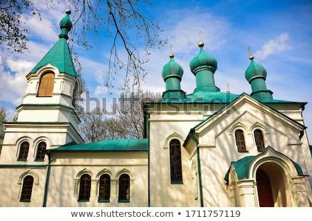 Scenico christian chiesa cupola crocifisso nuvoloso Foto d'archivio © feverpitch