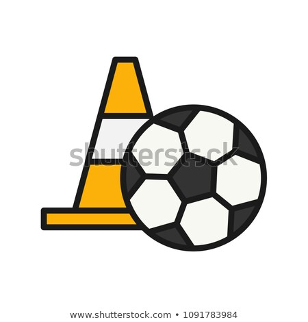 Ball And Training Cones Icon Outline Illustration Stock photo © pikepicture