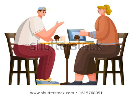 Woman Drink Coffee and Eat Muffin in Coffeehouse Stock photo © robuart