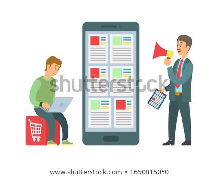 Winkelen online werknemer baas taken vector Stockfoto © robuart