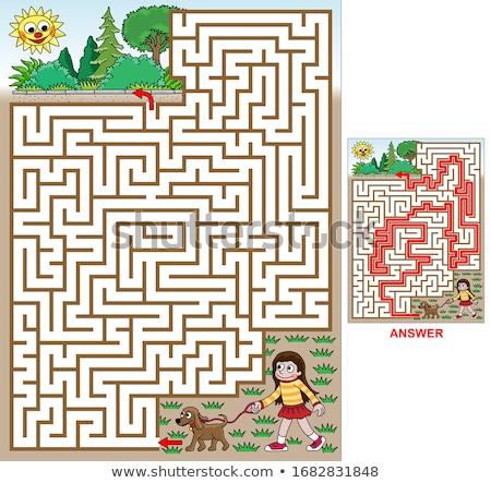 maze game with cartoon girl and puppy dog Stock photo © izakowski