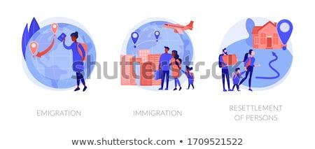 Lakosság mobilitás emberi vándorlás absztrakt vektor Stock fotó © RAStudio