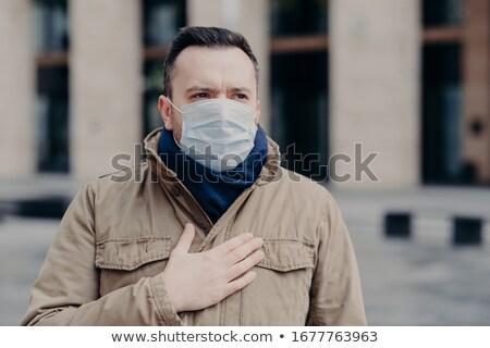 Koronavírus fertőzött komoly férfi lélegzet orvosi Stock fotó © vkstudio