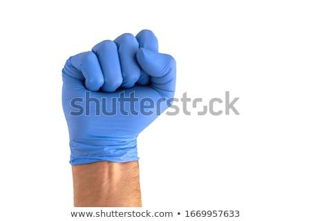 ököl · kéz · latex · kesztyű · izolált · fehér - stock fotó © iofoto