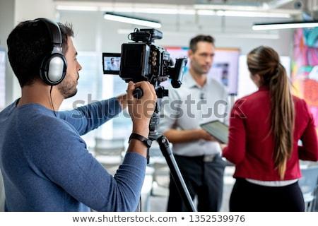 kareraman · sziluett · koncert · színpad · televízió · munka - stock fotó © kurhan