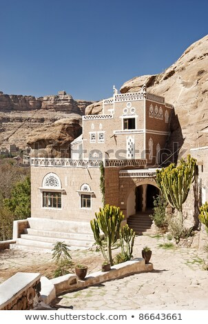 traditional yemeni house near sanaa yemen stock photo © travelphotography