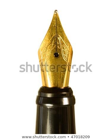 Dourado caneta-tinteiro ponta pormenor desenho linha Foto stock © prill