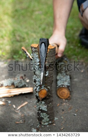 ax on chopping block wood in background 1 stock photo © 808isgreat