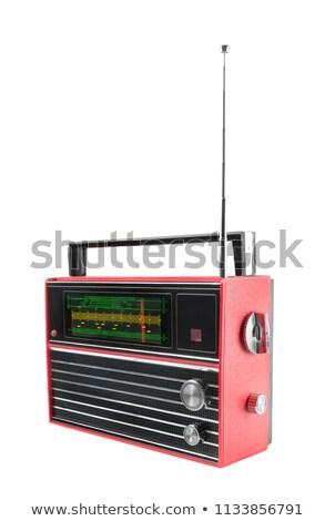vieux · radio · bois · isolé - photo stock © qingwa