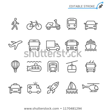 Stock photo: Set of transport icons - airplane and helicopter