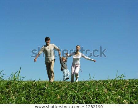 familia · hierba · cielo · azul · sonrisa · hierba · Pareja - foto stock © Paha_L