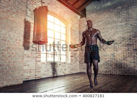 Zwarte man bokser zwarte afro-amerikaanse man atletisch Stockfoto © piedmontphoto