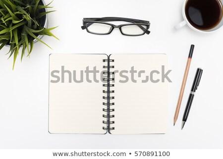 Kitap göz gözlük kalem yalıtılmış Stok fotoğraf © pinkblue