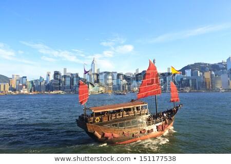 Hongkong · kikötő · turista · kacat · iroda · épület - stock fotó © kawing921