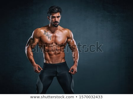 Musculaire homme noir assis corps Photo stock © stockyimages