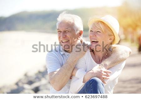 Yaşlı çift portre ülke yan gülen Stok fotoğraf © blanaru