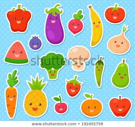 Photo stock: Vecteur · drôle · autocollants · vert · orange · visage · souriant
