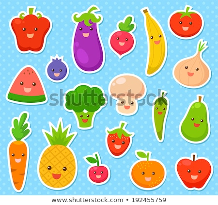 Stock fotó: Vector Funny Stickers Green And Orange