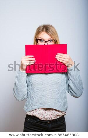 Félénk nő rejtőzködik mögött mappa üzlet Stock fotó © photography33