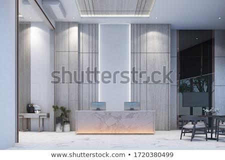 Reception interior design hall with furniture stock photo for Hall interior furniture