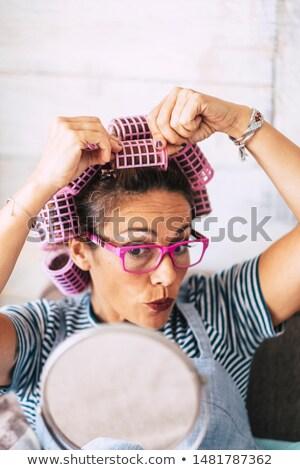 mujer · albornoz · pelo · belleza · blanco · gafas · de · sol - foto stock © photography33