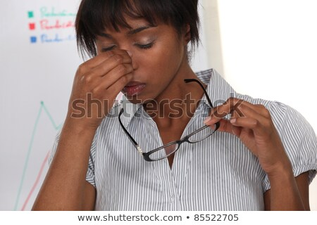 Photo stock: Pretty Black Woman Having Migraine