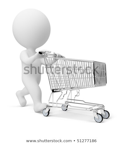 3d small people   shopping cart stock photo © anatolym