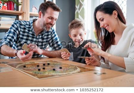 小さな 家族 演奏 サイコロ 風景 母親 ストックフォト © photography33