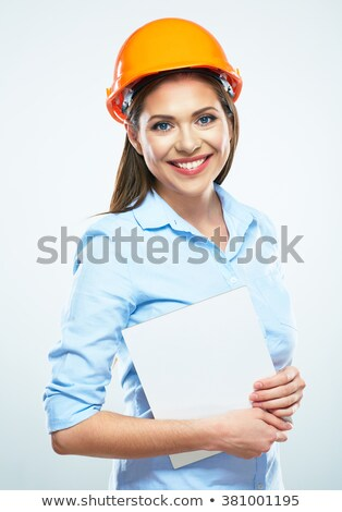 Female construction worker with a blank board stock photo © photography33