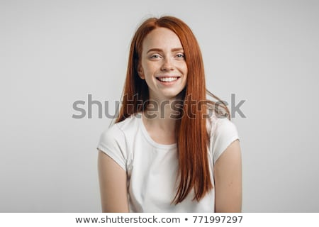 Nice young girl - redheaded freckled fashion model looking stock photo © gromovataya