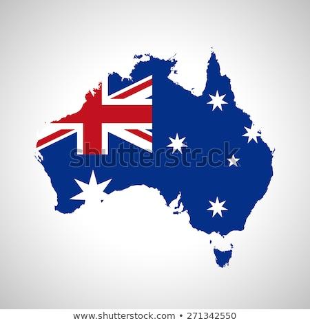Сток-фото: Australia Flag In Map Silhouette Illustration