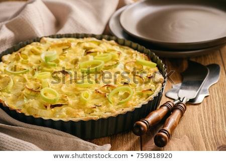 Pırasa gıda yumurta peynir öğle yemeği diyet Stok fotoğraf © M-studio