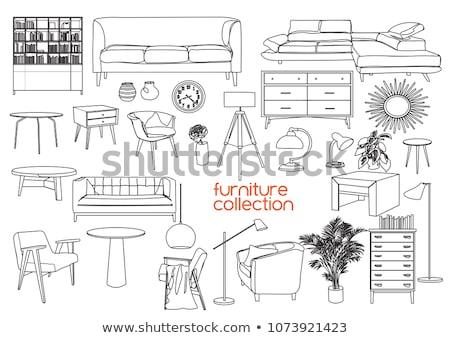 набор · иллюстрированный · интерьер · Элементы · книжная · полка · диван - Сток-фото © re_bekka