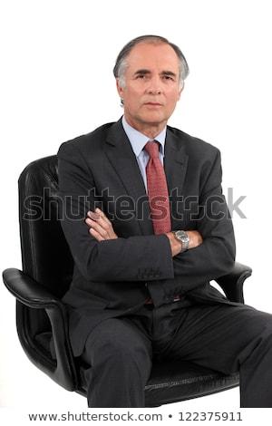Popa empresário cadeira de escritório fundo executivo preto Foto stock © photography33